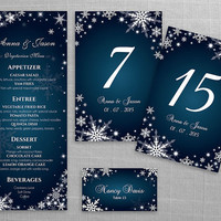 DIY Printable Wedding Table Package Deal Templates | Editable MS Word file | Instant Download | Winter White Snowflakes Dark Turquoise