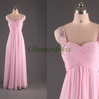 long chiffon sweetheart prom dresses on sale pink beaded straps evening dress with rhinestones best cute party gowns for girls