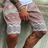 2020 new arrivals men's fashion printed lace-up men's shorts