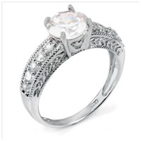 Sterling Silver 1.25 carat Round Cut CZ Sweet Heart Engagement Ring size 4-9
