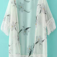 Floral Fringed Kimono Cover-up