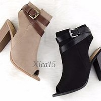 Women's Open Toe Booties Chunky Block High Heel Ankle Buckle Boots Shoes