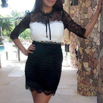 Hearts Collide In Chic Black And White Lace Bodycon Dress