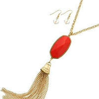Sassy Tassels Necklace - Coral