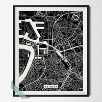 Antwerp Street Map, Belgium Poster, Antwerp Print, Belgium Map Print, Street Map, Wall Decor, Giclee Print, Map Decor, Back To School
