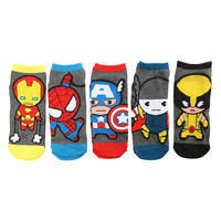 Marvel Kawaii Heores No-Show Socks 5 Pair