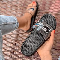 OFF WHITE x NIKE BENASSI Summer Couple Casual Transparent Slipper Sandals Shoes Black