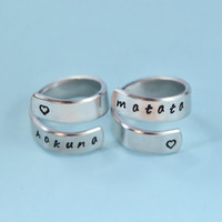 hakuna matata - Spiral Rings, Hand Stamped, Shiny Aluminum, Skinny Ring, Lion King Inspired, Handwritten Font