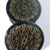Black and Bronze Three part Magnetic Herb Weed Tobacco Grinder