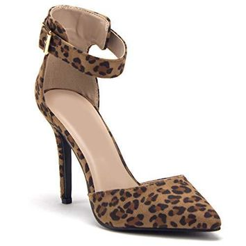 Women'sIsabel-31 Pointed Toe D'Orsay Ankle Strap High Heels Pumps Shoes