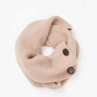 Brandy Taupe Buttoned Scarf