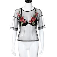 Feitong Embroidered Summer Tops Sexy Ladies Perspective Short Sleeve T Shirt Women Cropped Blusas Femininas Manga Curta SM6