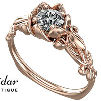 Flower Engagement Ring,Unique Engagement Ring,Rose Gold Engagement Ring By Vidar Botique,Engagement Ring,Leaves Ring,Vintage Ring Diamond