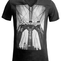LE3NO Mens Comfortable V Neck Graphic T Shirt (CLEARANCE)