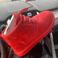 UGG hot-selling snow lace-up Martin boots fashion simple hand-sewn non-slip high-top boots fashion men and women Shoes Red