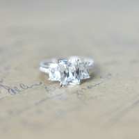 Emerald Cut Engagement Ring - Cubic Zirconia Ring - Three Stone Ring - Promise Ring - Anniversary Ring -  Silver Wedding Ring - Bridal Ring