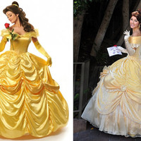 Beauty and the Beast Belle Cosplay Costume Gown Dress (Free shipping)