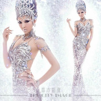 2014 new package hip Slim sequined stage costumes dress sexy tight dresses with systemic luxury accessories one size (Color: Silver) = 1958241284