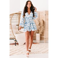 Find Your Bliss Long Sleeve Pleated Floral Romper (White/Blue)
