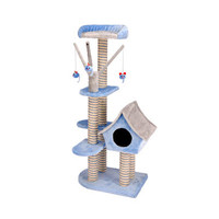 Penn Plax Deluxe Cat Cottage with Lounging Tower in Blue/Gray