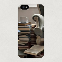 Books and a Rustic Chair Illustration iPhone 4 4s 5 5s 5c Samsung Galaxy S3 S4 Case