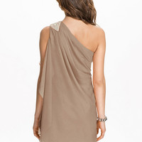 Sleeveless Asymmetrical One Shoulder Shift Mini Dress