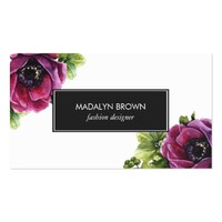 Elegant Purple Floral Professional Business Card