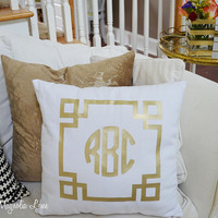Gold (or Silver) Greek Key Monogram Iron-On for Pillows