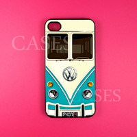 Iphone 4 Case, Volkswagen Teal Minibus Iphone 4s Case Cover, Cool Retro Iphone Cases, Snap On Rubber or Hard Plastic Case