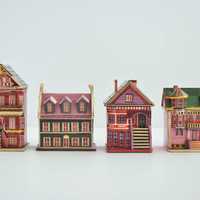 Vintage Miniature Houses - Wheat Straw Houses - Tiny Cardboard Boxes