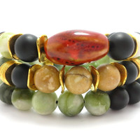 Set of 3 Stretch bead bracelet, chunky beaded bracelet, gemstone, bohemian stack stretchy, stacking, black stone, green, gold, brown, red