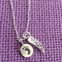 Memorial Jewelry Necklace - footprint Remembrance - Angel Necklace - Miscarriage Infant Loss - Delicate Jewelry - Tiny Charm Pendant Neck