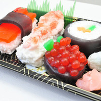 Sushi Soap Gift Set - Vegan Soap - food soap - Wasabi Scented - Shrimp, Maki, Roe, Tuna in a real Sushi Take out Box