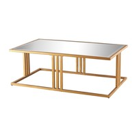 Andy Coffee Table In Gold Leaf And Clear Mirror Gold Leaf,Clear