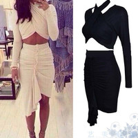 Stylish irregular two-piece dress