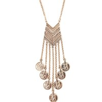 With Love From CA Chevron And Coin Long Necklace - Womens Jewelry - Antique Gold - NOSZ