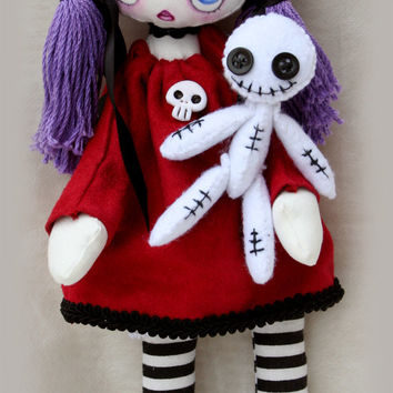 Elvira handmade gothic / Emo cloth doll with skull and voodoo doll friend OOAK