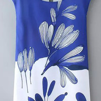 Blue and White Floral Sleeveless Shift Dress