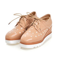 Womens Playful Star Design Oxford Boots