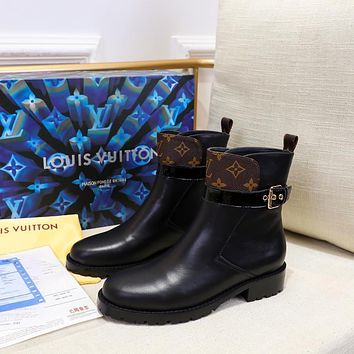 lv louis vuitton trending womens black leather side zip lace up ankle boots shoes high boots 179