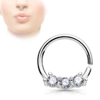 Silver Septum Hoop Rings with Three CZ Set Bar 316L Surgical Steel bendable 18ga Daith Helix