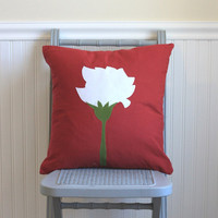 red applique carnation pillow cover, 20X20 red and white