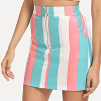 Striped Zip Up Mini Skirt