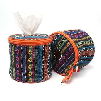 Toilet Paper Tissue Box Holder Roll Ethnic Handle Lid Storage Outdoor Camping