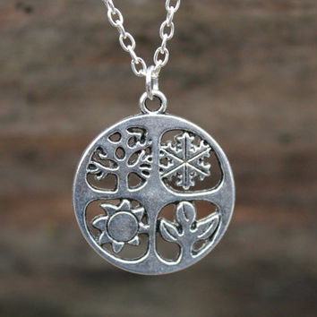 Four Seasons necklace, Sabbat pendant, Wiccan necklace, witches necklace, pagan jewellery, ritual jewellery, Yule gift idea, pagan gifts
