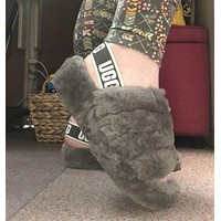 UGG hot slippers, warm and fluffy new style ladies fashion fluffy casual slippers