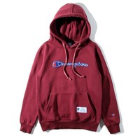 Champion classic alphabet patch cloth men and women embroidered sweater coat Burgundy