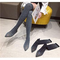 Women Fashion Over The Knee Crystal Stretch Fabric Flat Boots