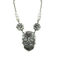 Sugar Skull Silver Burnish Plating with Faux Pearl Necklace and Flower Earrings