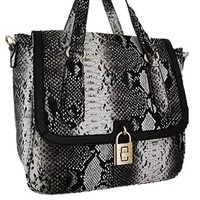 Python Snakeskin Print Satchel Messenger Style Purse w/ Shoulder Strap Black